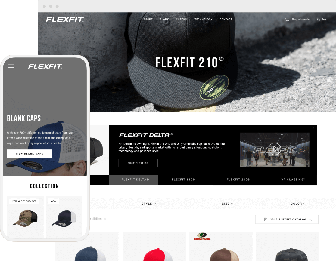flexfit website pages on desktop and mobile