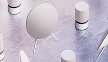 Beosound Balance and Beoplay A9 as connected speakers in nordic ice colorway