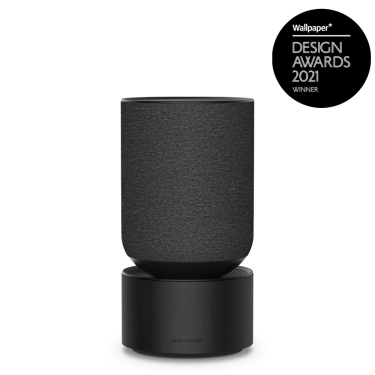 beosound balance black oak with wallpaper design award logo