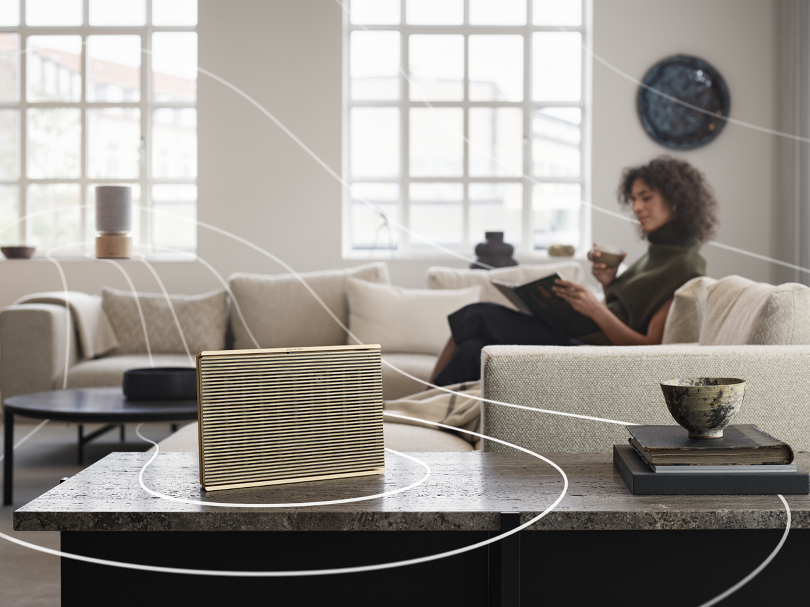 Beosound Level and Balance connected speakers in living room