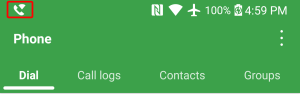 Wi-Fi calling icon shown in top-left corner of Android phone status bar