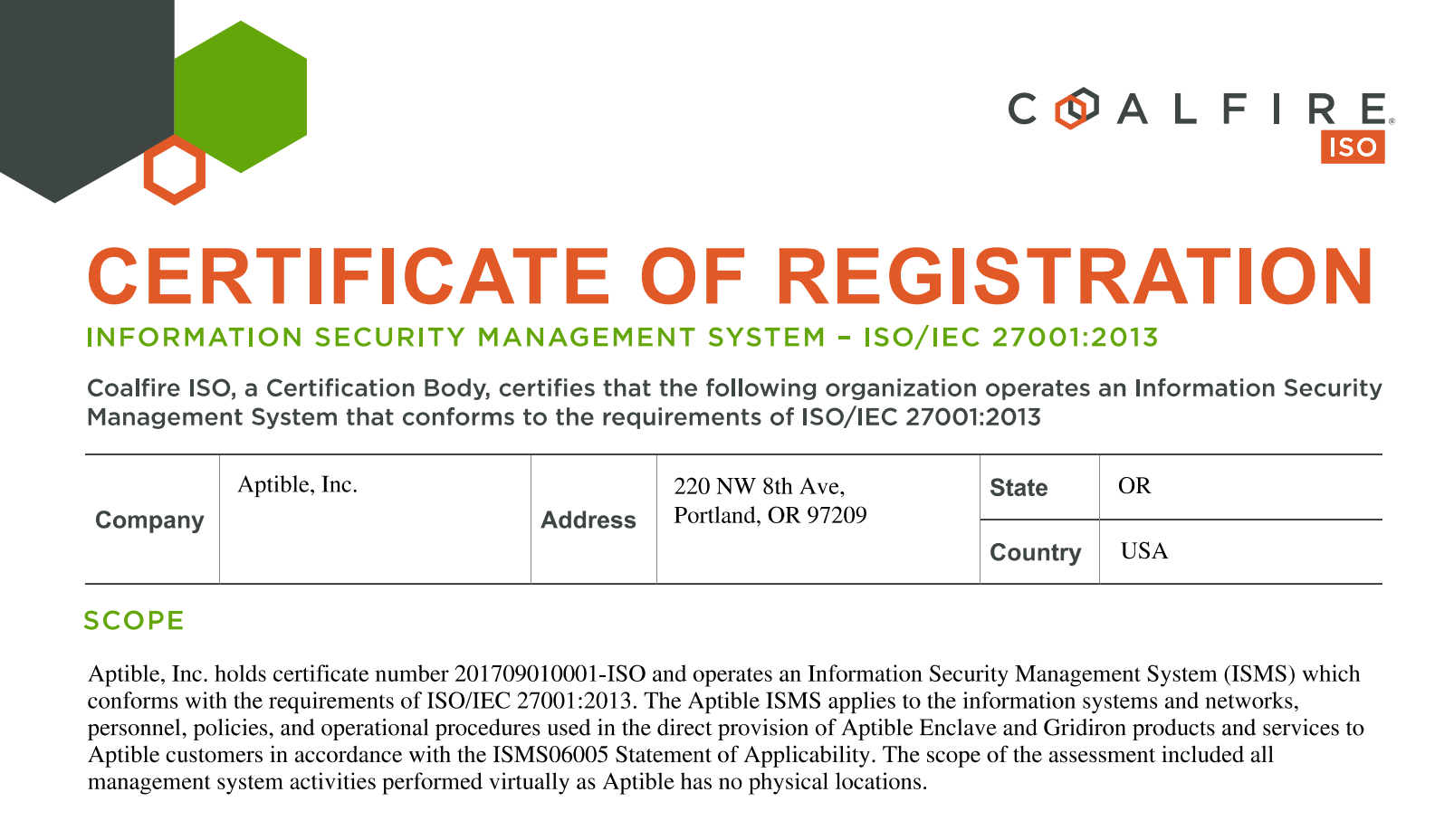 Iso 27001 Certification Aptible
