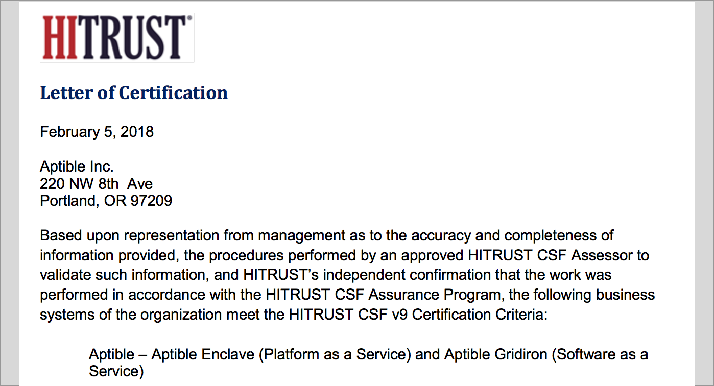 Hitrust Csf Certification Aptible