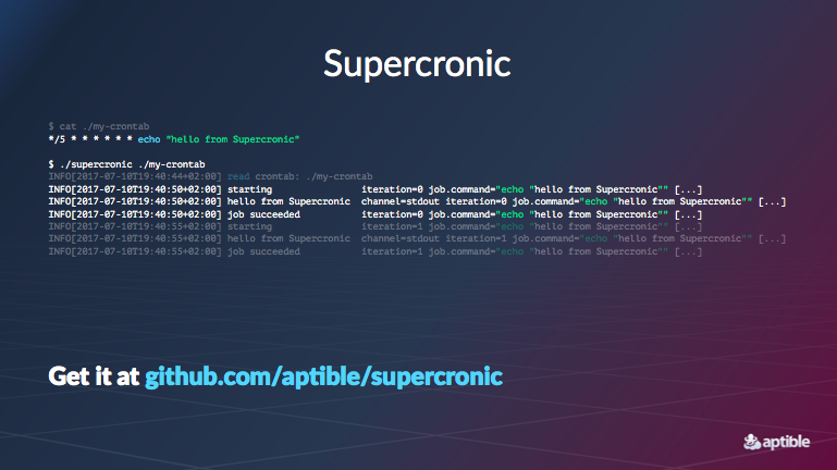 Supercronic example cron/job runner code.