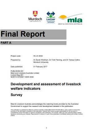 Development and assessment of livestock welfare indicators