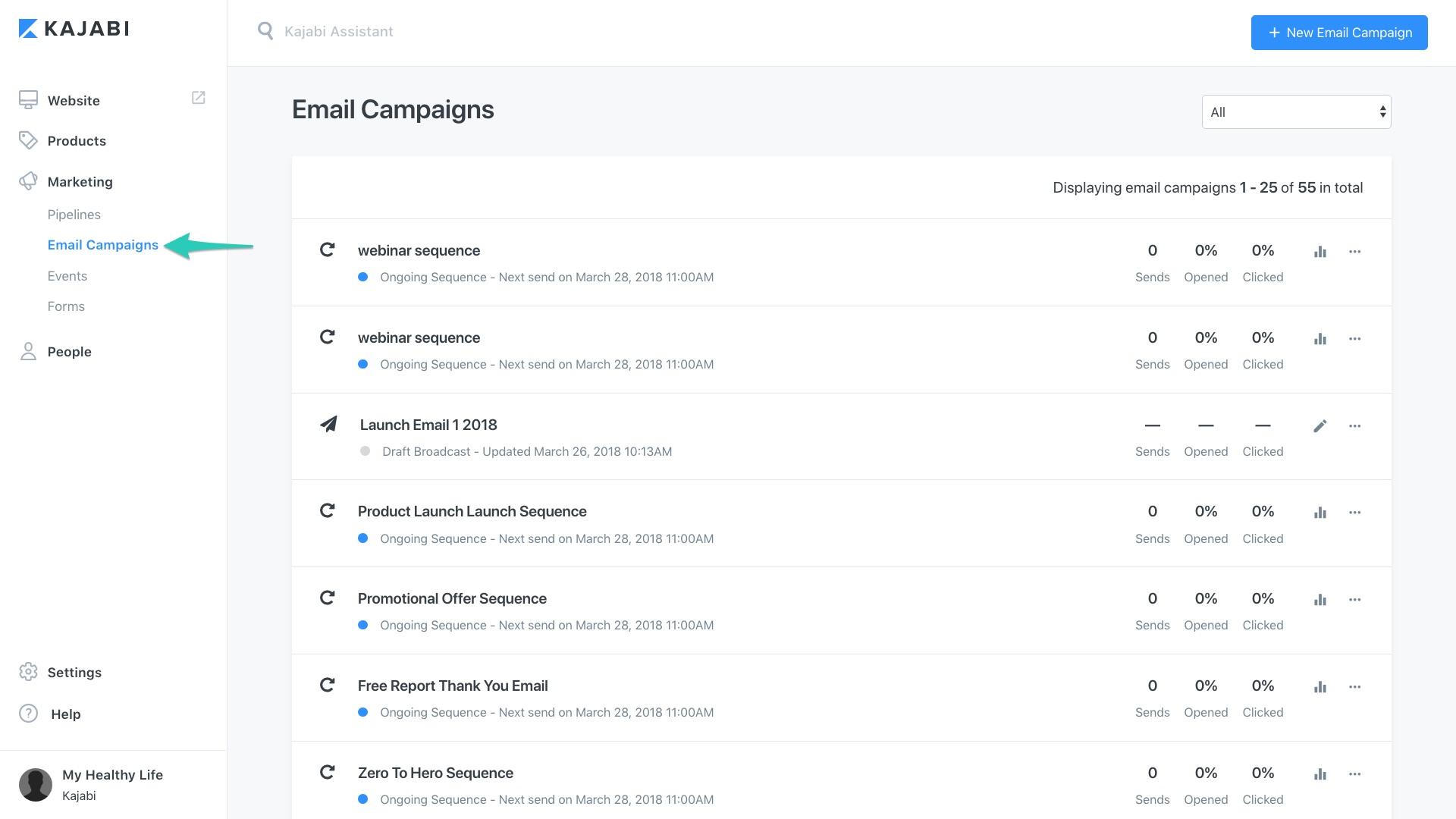 Kajabi - admin sites 6873 email campaigns