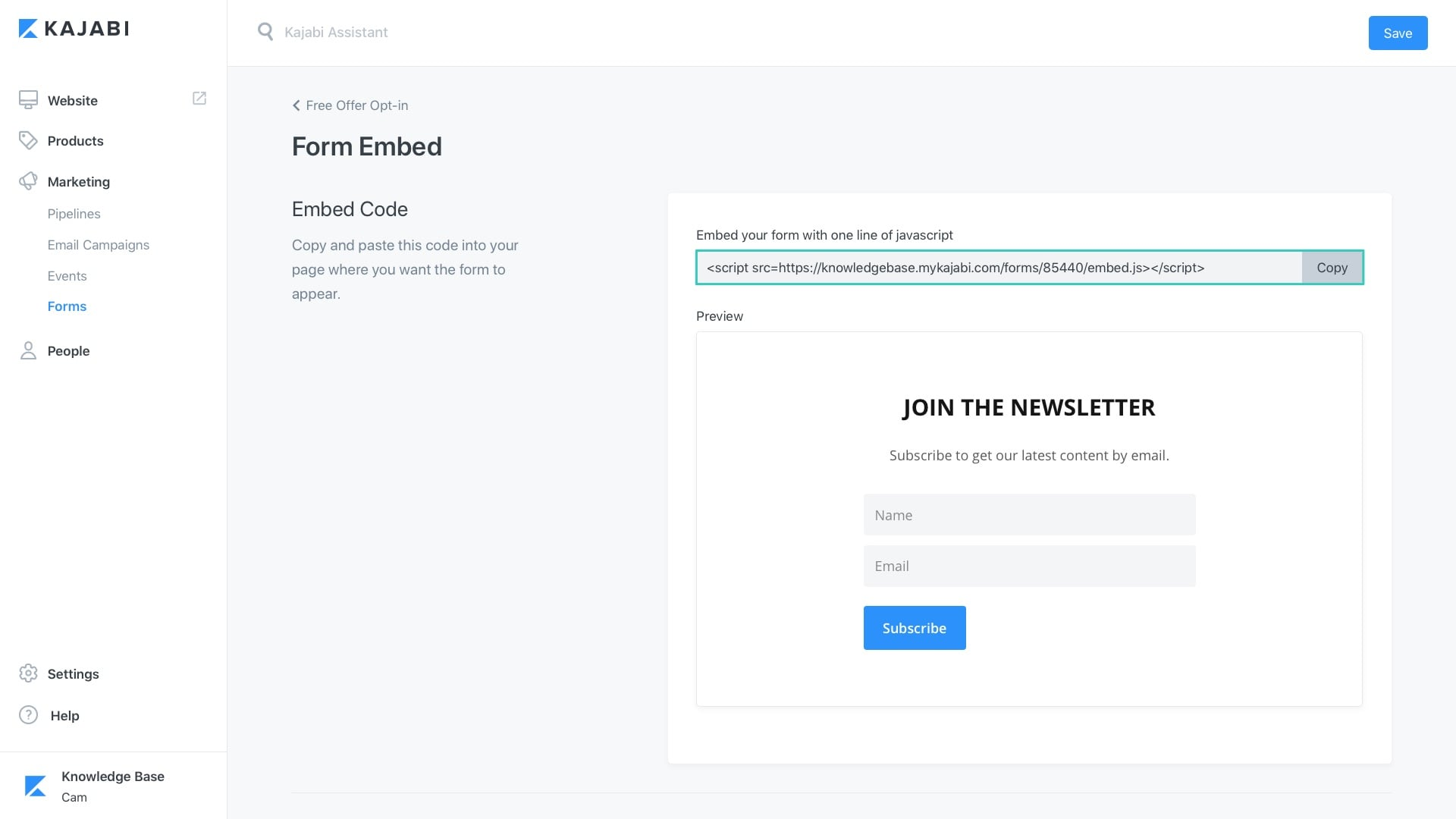 form embed code