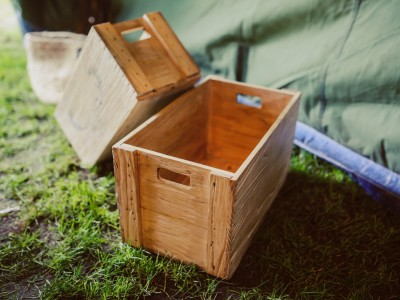Wood crates by a tent