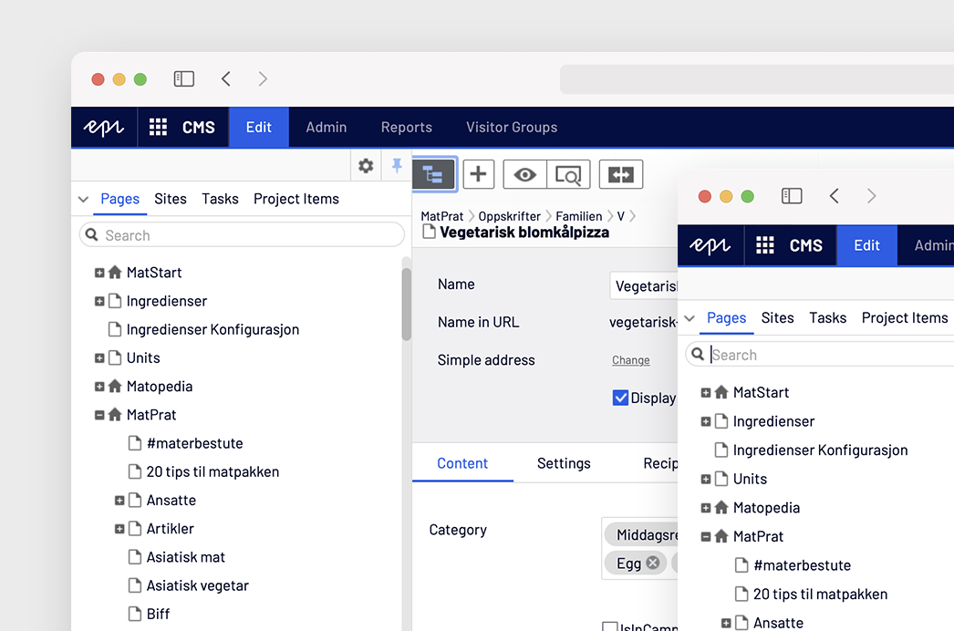 Panel for editors in Episerver