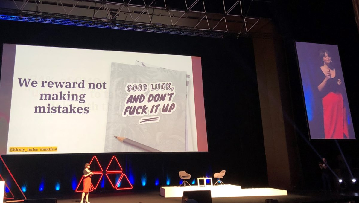 Kirsty Hulse on stage at the Marketing Festival in Prague