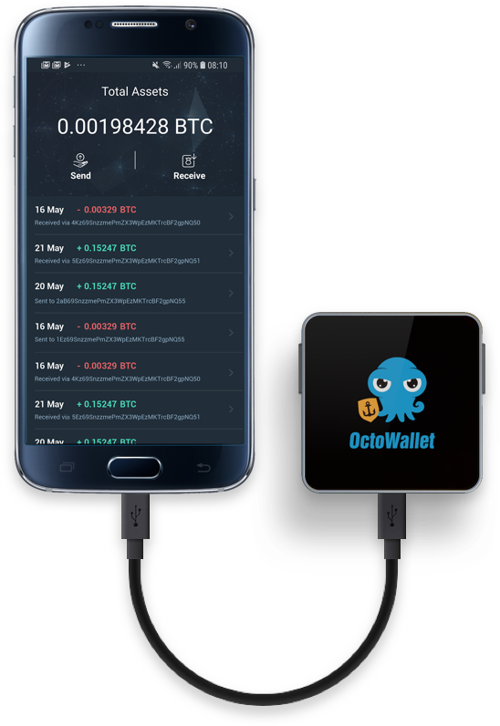 OctoWallet device and Coinloop app