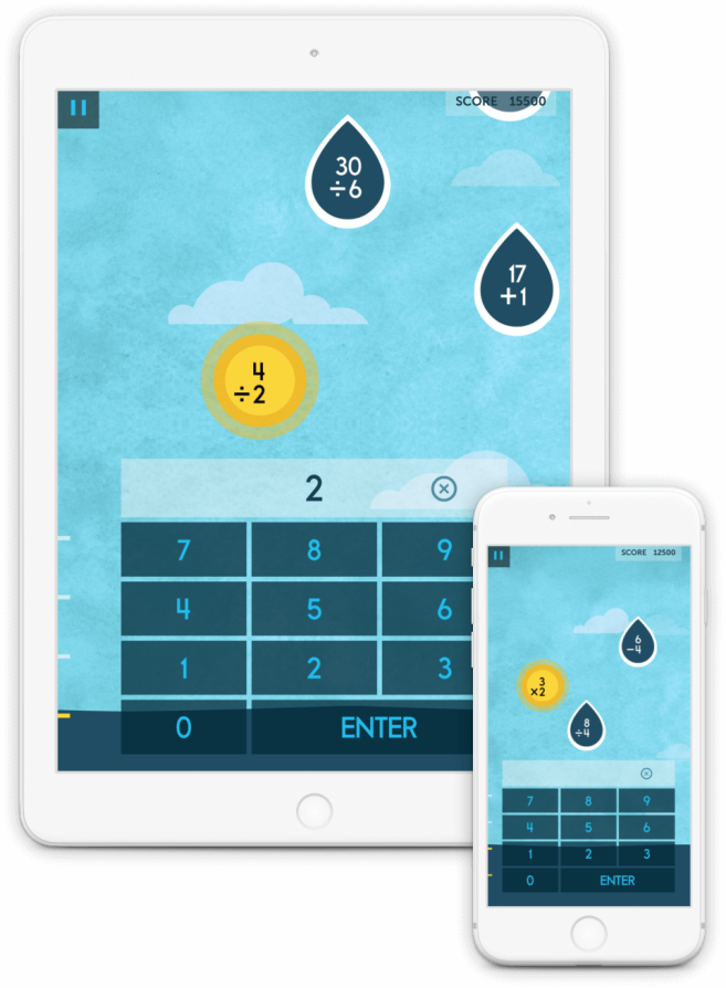 Raindrops uses arithmetic to improve problem-solving skills. Play Raindrops to become better at mental calculations. You might even find yourself volunteering the next time someone needs to calculate a tip!
