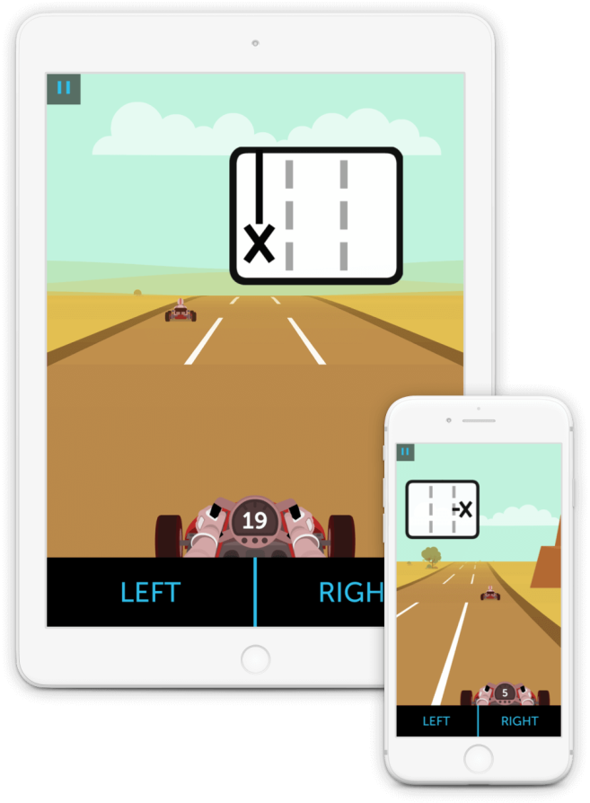 In Highway Hazards, you quickly dodge obstacles in a race through the desert — tumbleweeds, other drivers, and more. <br/> <br/> These rapid maneuvers challenge your information processing skills: your ability to process and analyze incoming information.
