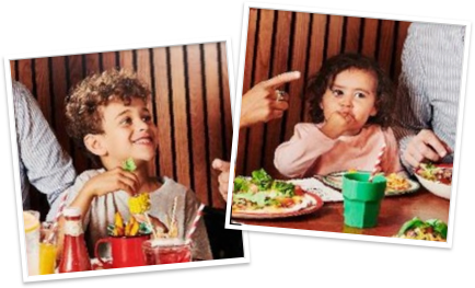 Print-style photos of kids enjoying their meals.