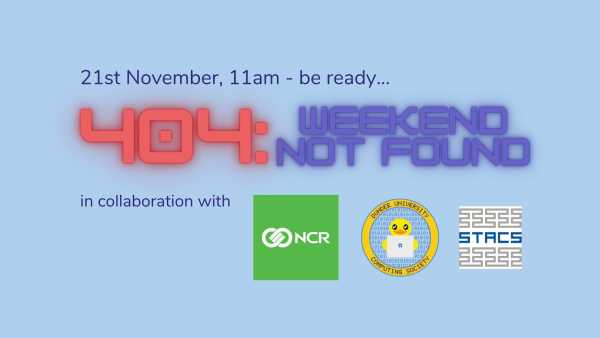 404: Weekend Not Found banner