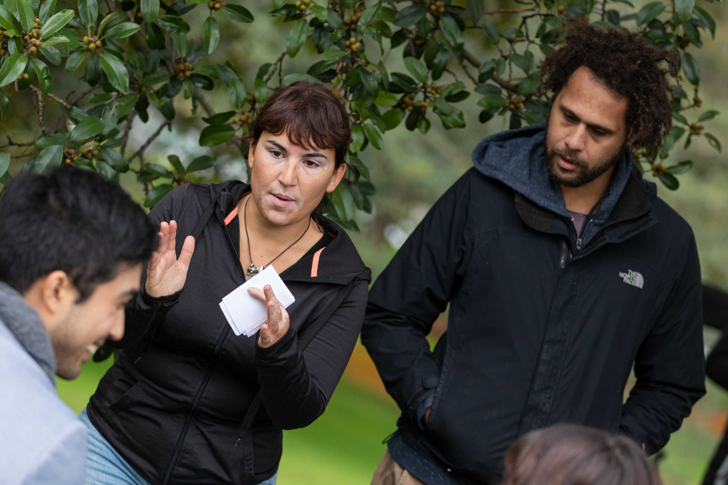 Alessia Francischiello on set with Kupa Warner discussing with actors