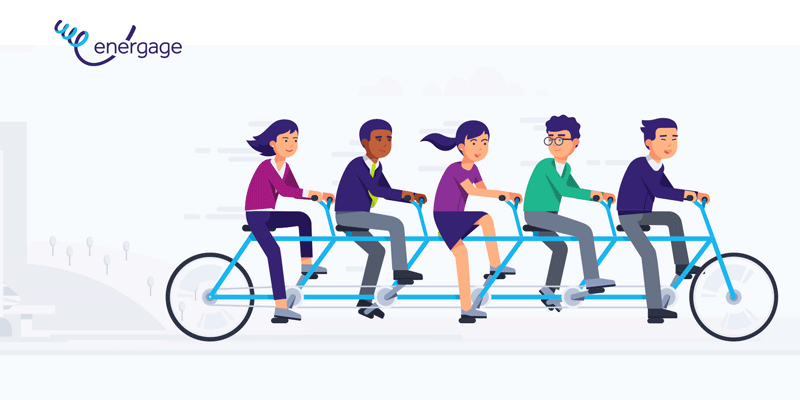 energage illustration of people riding on a tandem bike.