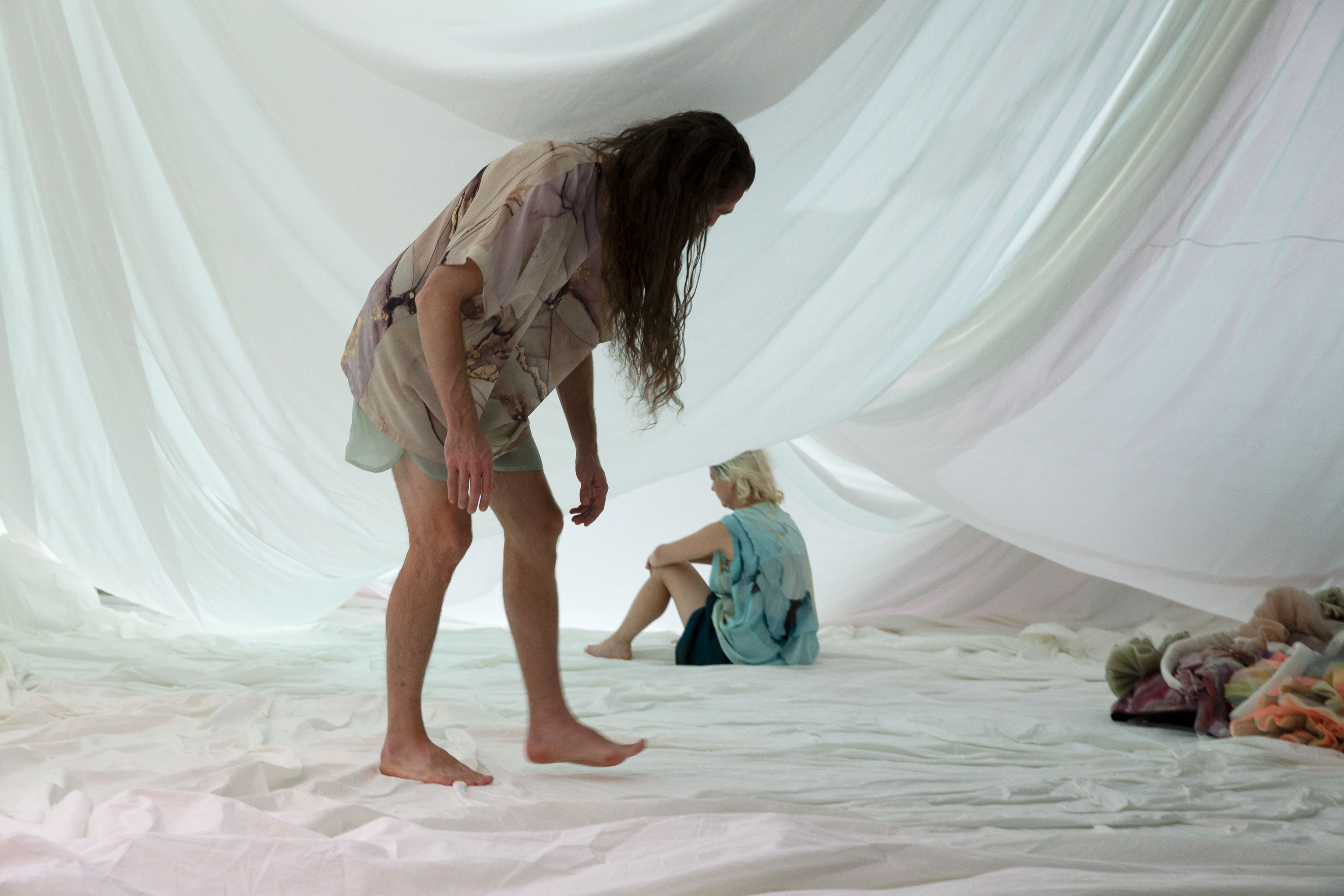 "Musician Johannes Rieder and actor Maja Beckmann in ""Medea*""."