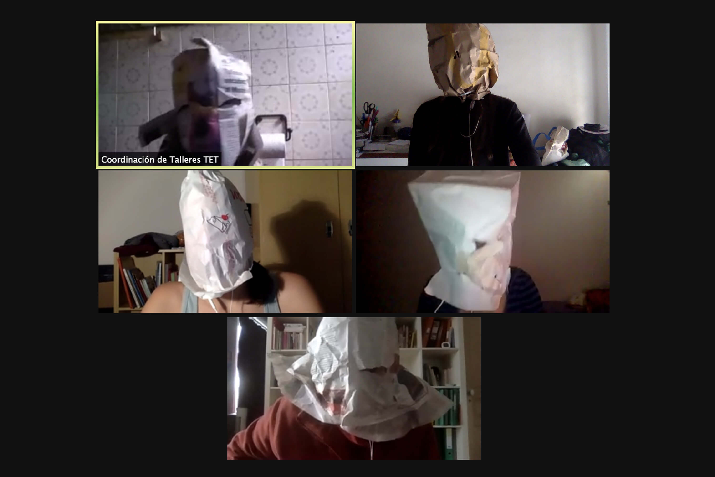 _: Five people with paper bags on their heads are attending a video conference.