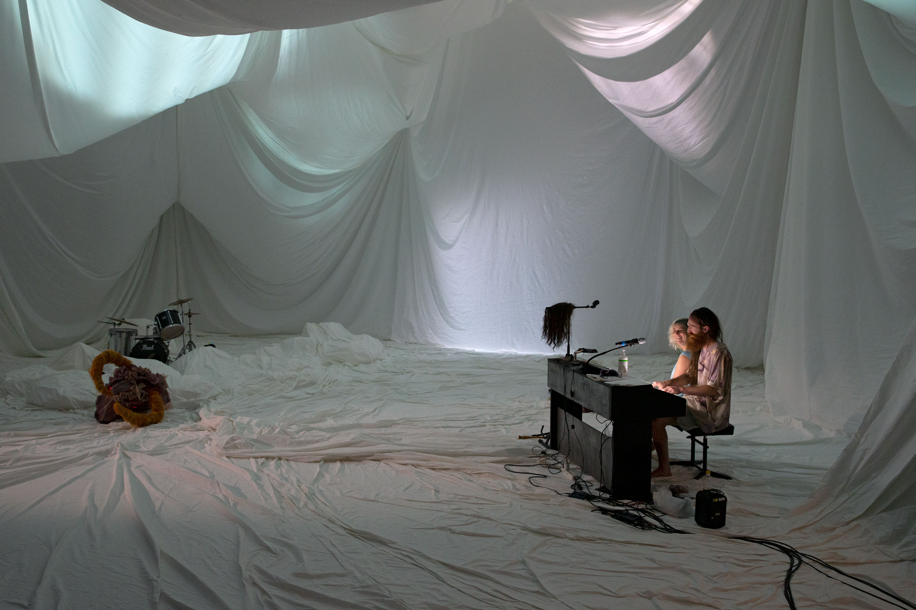 "Actor Maja Beckmann and musician Johannes Rieder in ""Medea""."