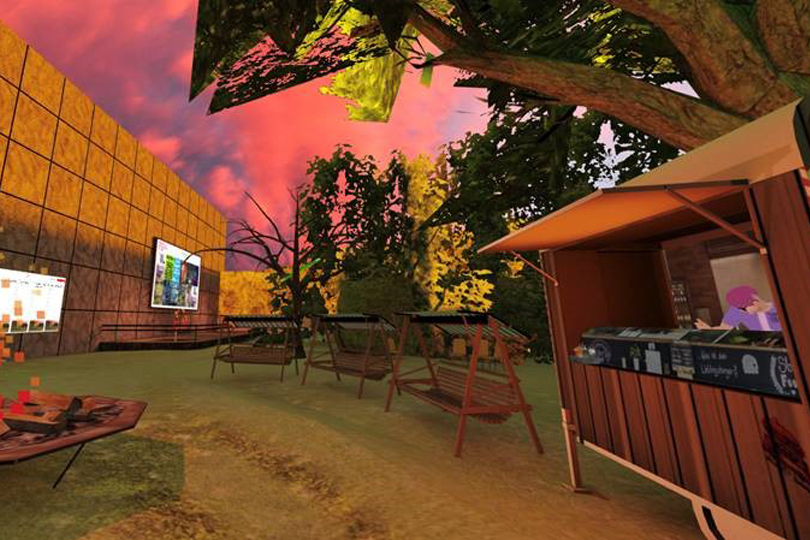 A fire bowl, some garden swings and a food truck are located in a computer-generated version of the festival garden.