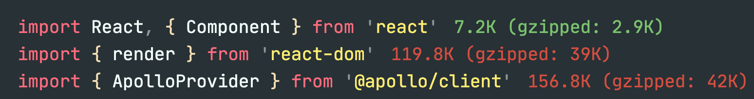 react/react-dom/apollo file sizes