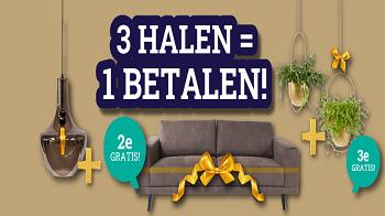 Actie: 3 Halen = 1 Betalen