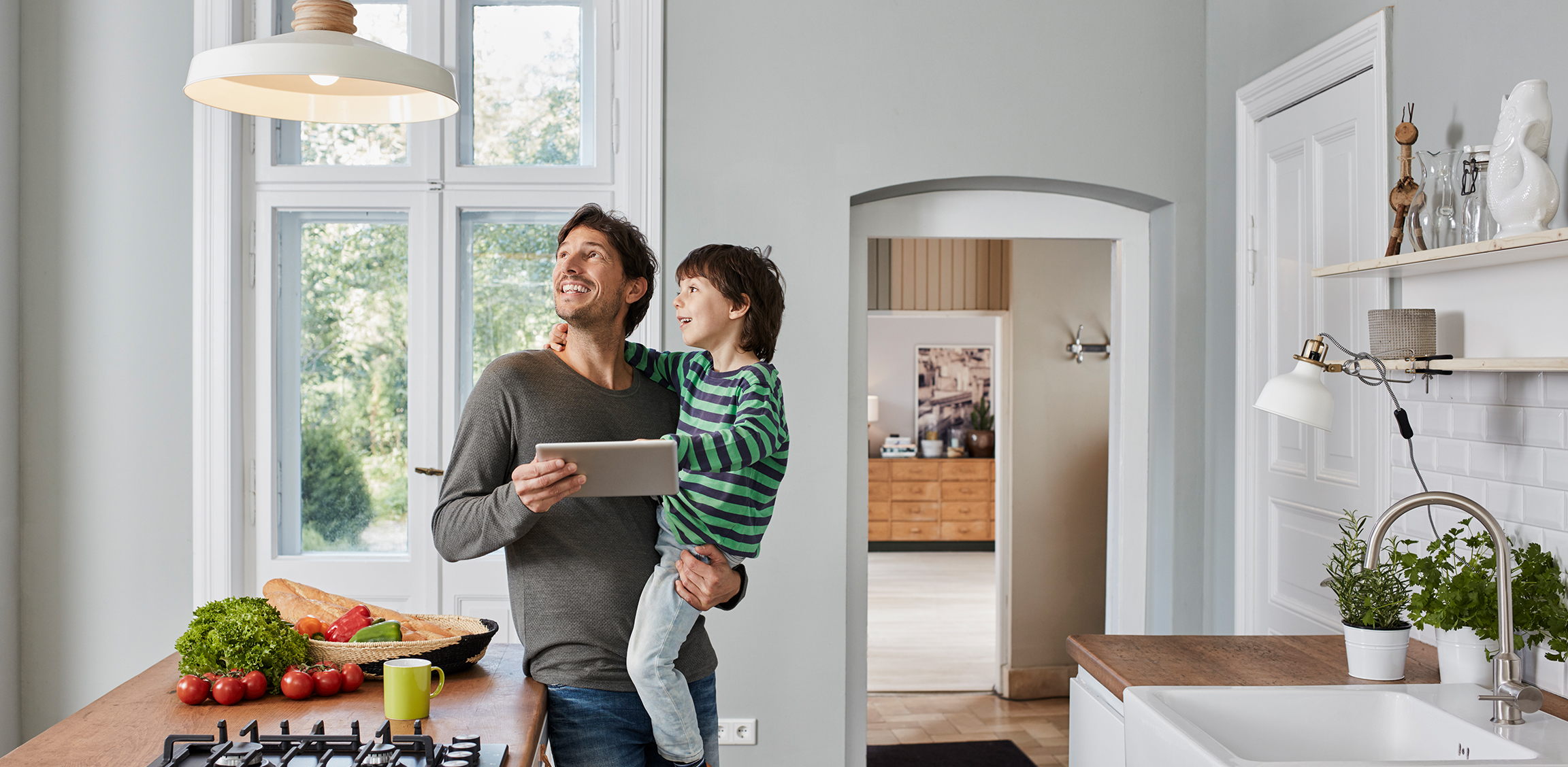 A family enjoys security and automation at home