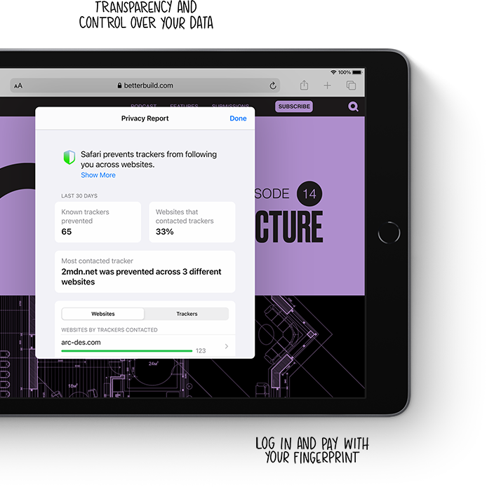 Control over your personal data and fingerprint sensor technology means iPad has privacy built in.