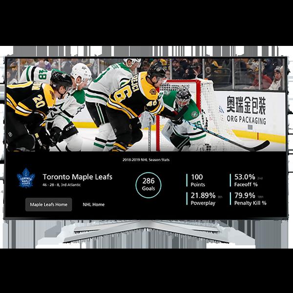 SportsApp showing stats of TorontMaple Leafs on Ignite TV