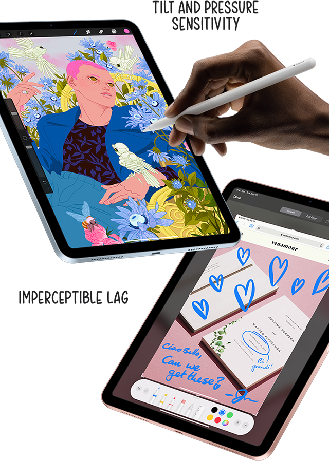 Mark up documents on iPad Air's screen with Apple Pencil.
