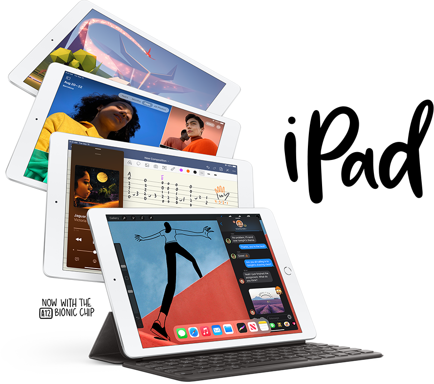 The Apple iPad 8th generation, with included keyboard