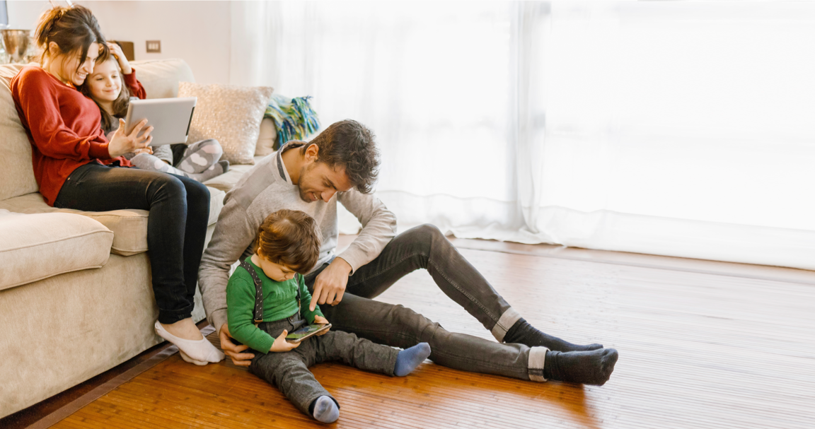 A family enjoys Ignite Internet, backed by Ignite WiFi Promise