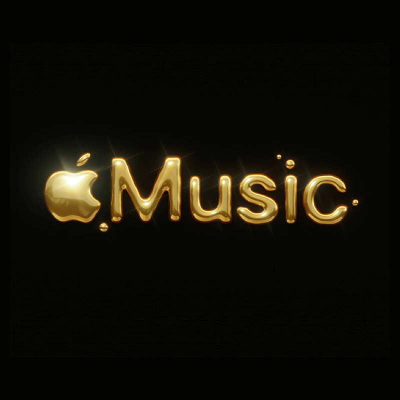 Apple Music logo in gold on a black background