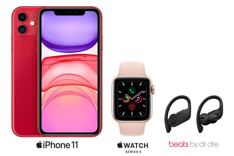 The iPhone 11 Pro, Powerbeats Pro earphones and Apple Watch Series 5.
