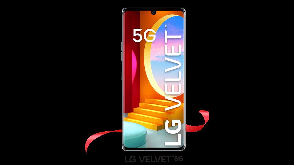 The front of the LG Velvet 5G in Aurora Gray