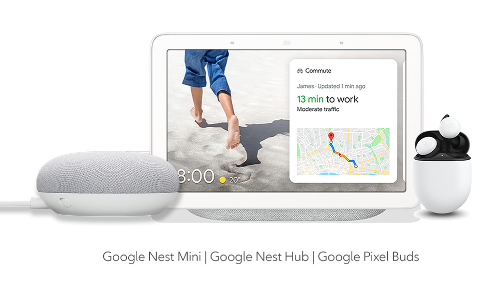 The Google Nest Mini, Nest Hub, and Pixel Buds
