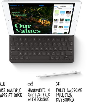 A top-down view of Apple iPad 8th generation with connected keyboard