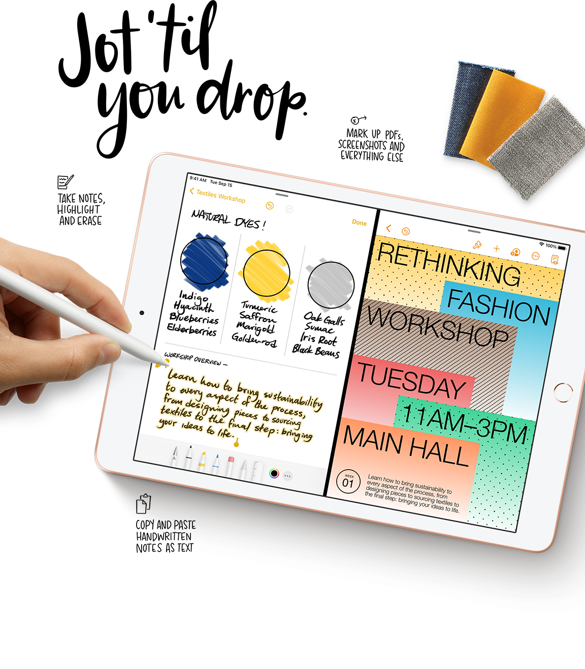 Write, mark up documents, and take notes directly on the iPad screen with Apple Pencil.