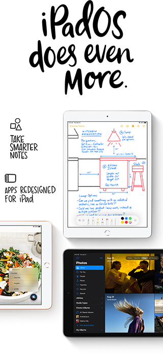 Enjoy a smoother user interface and new apps like Scribble with iPadOS 14, new with iPad 8.