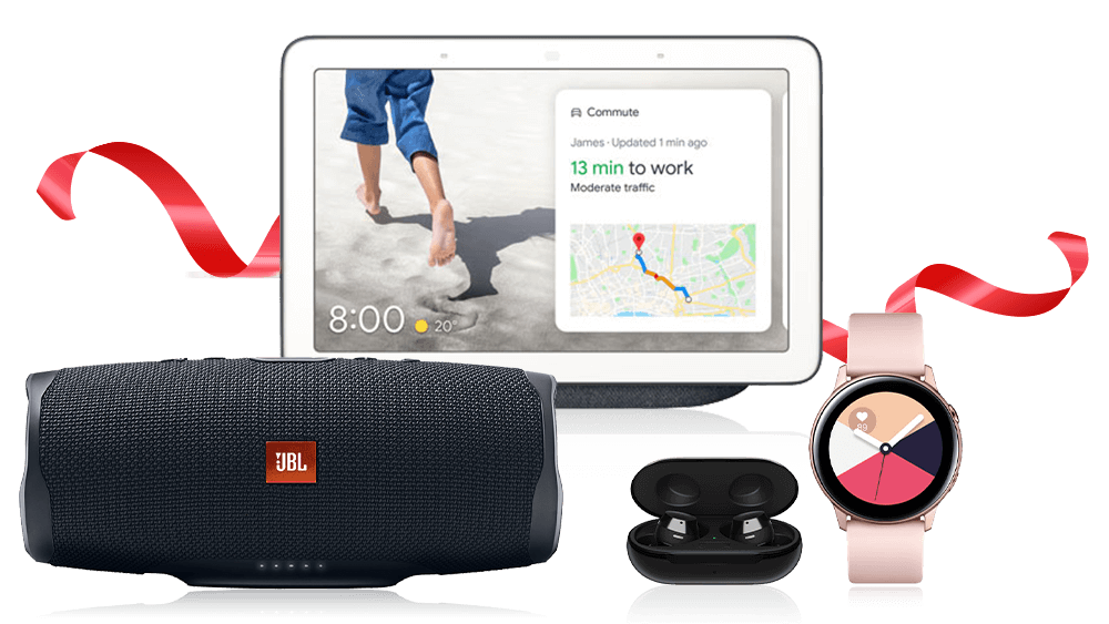Galaxy Watch Active2, Galaxy Buds+, Google Nest Hub, and JBL Charge 4 Speaker