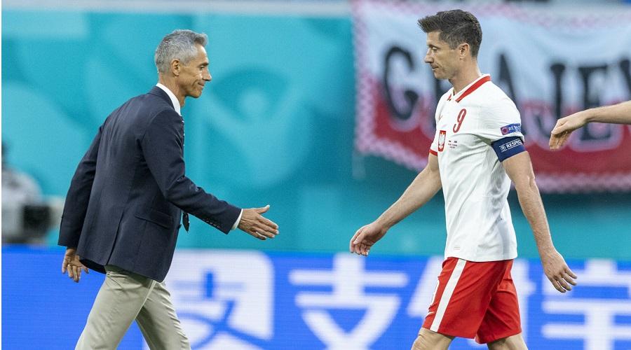Robert Lewandowski i Paulo Sousa podczas Euro 2020