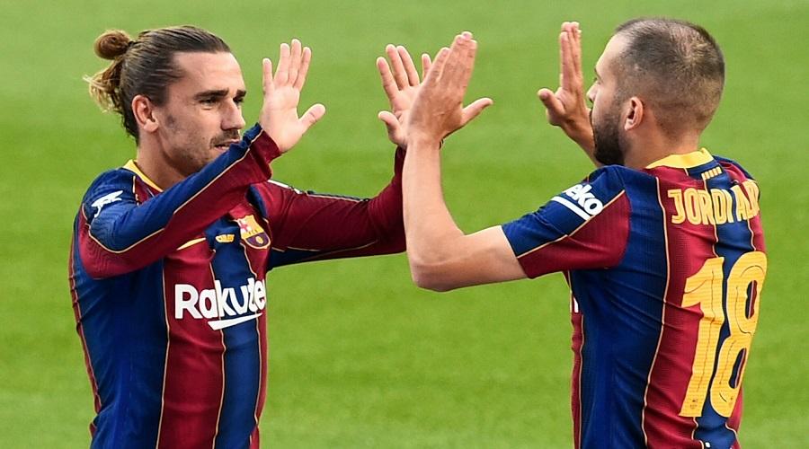 Antoine Griezmann i Jordi Alba w barwach FC Barcelony