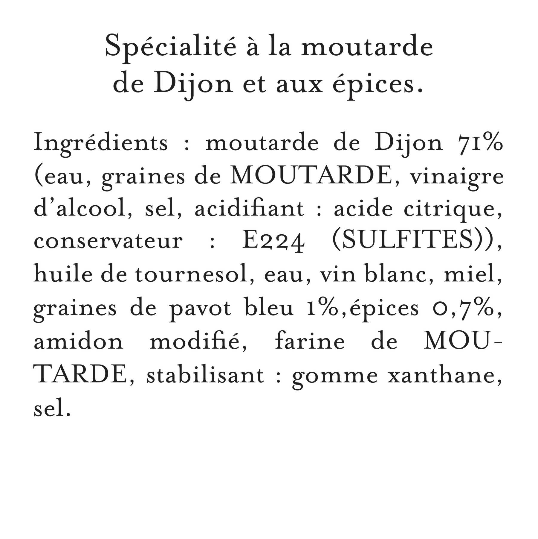 Maille Specialite a la Moutarde Fins Gourmets Pointe d'Epices Bocall 340g, description