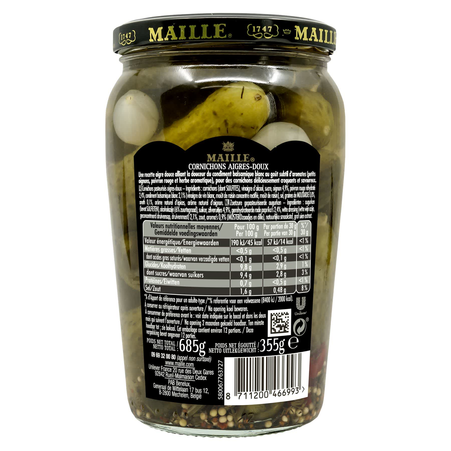 Maille - Cornichons aigres doux, 355 g, backend