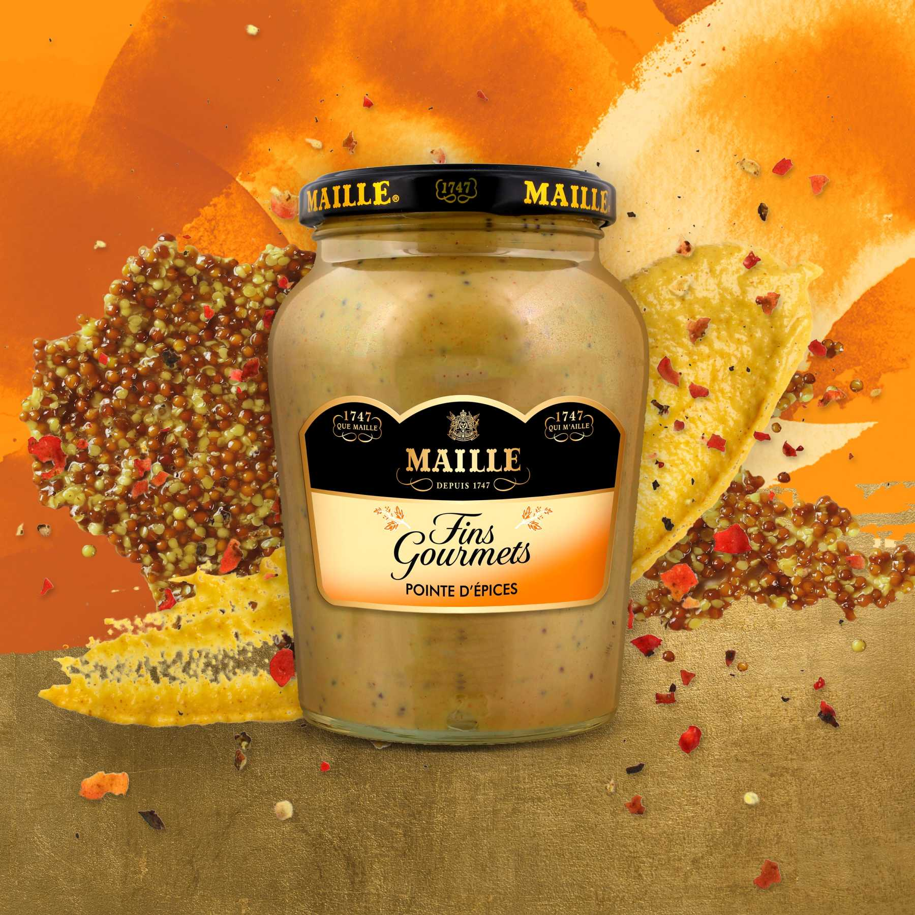 Maille Specialite a la Moutarde Fins Gourmets Pointe d'Epices Bocal 340g, new visual