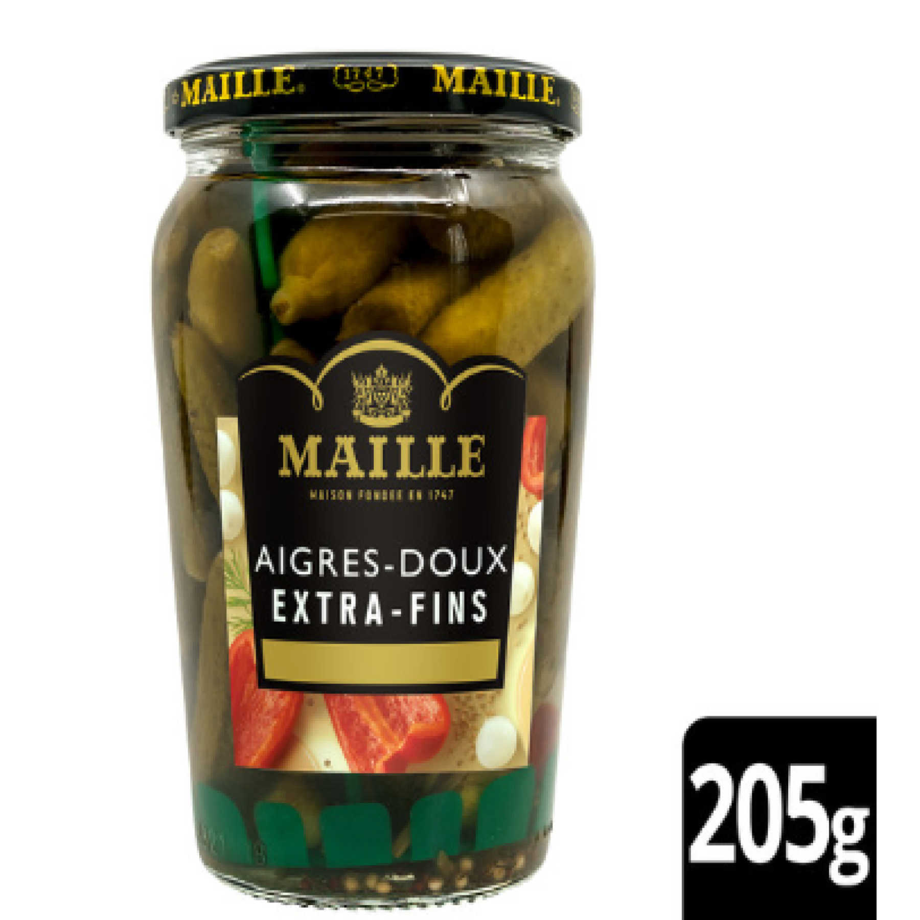 Maille - Cornichons aigres-doux extra-fin, 205 g