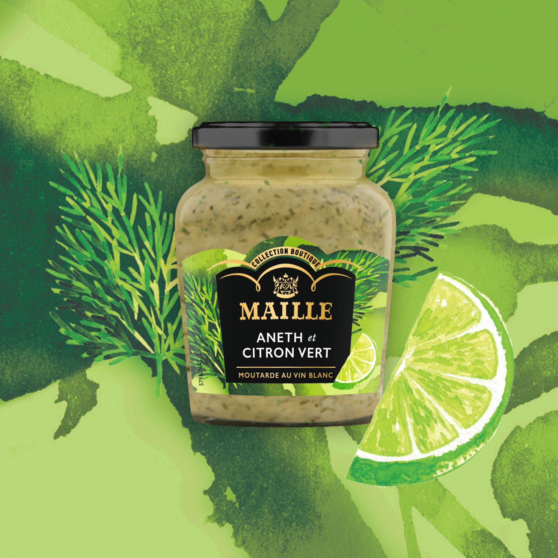 Maille - Moutarde au vin blanc, aneth et citron vert, 108 g, new visual