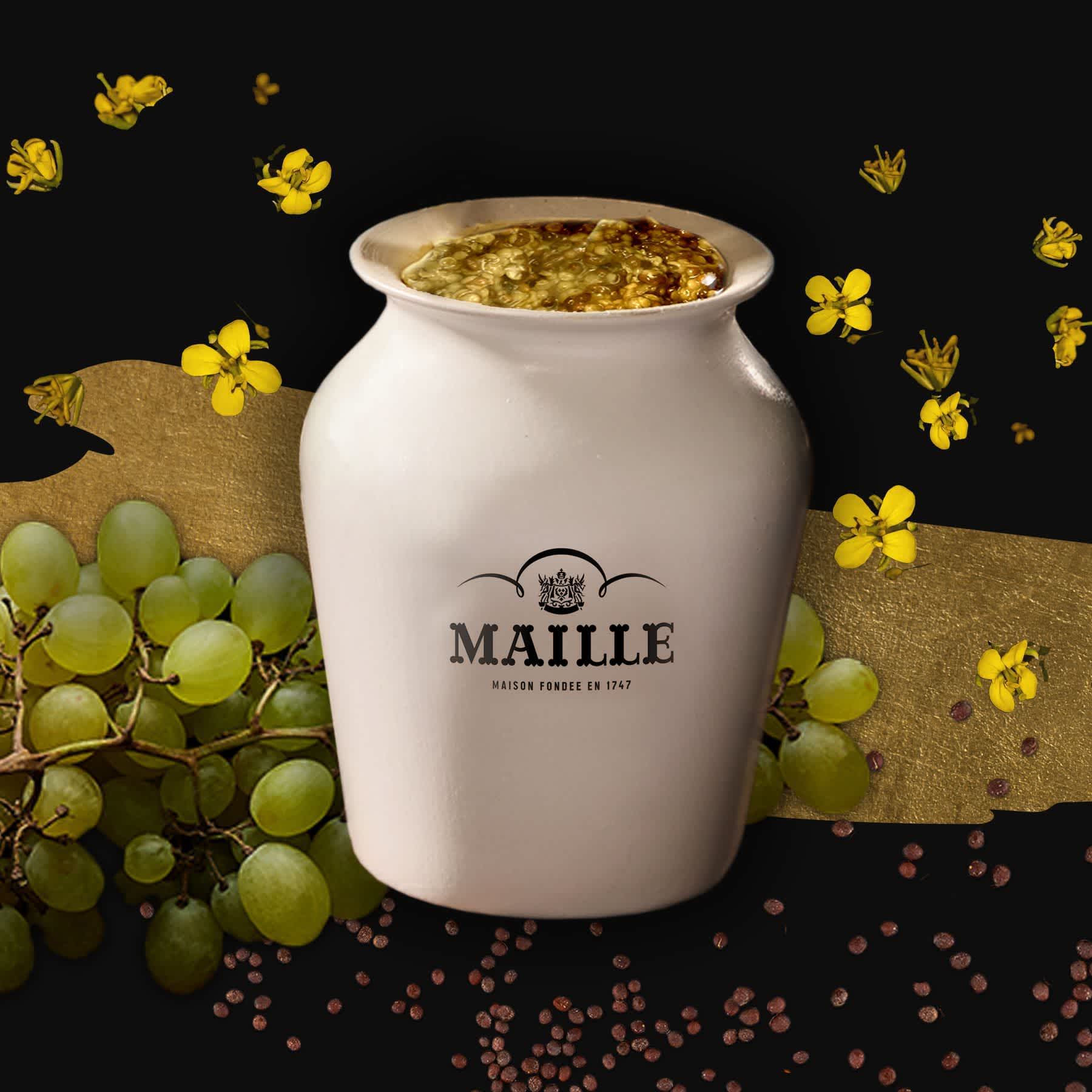 Maille - Moutarde a l'Ancienne au chardonnay de bourgogne servie a la pompe, new visual