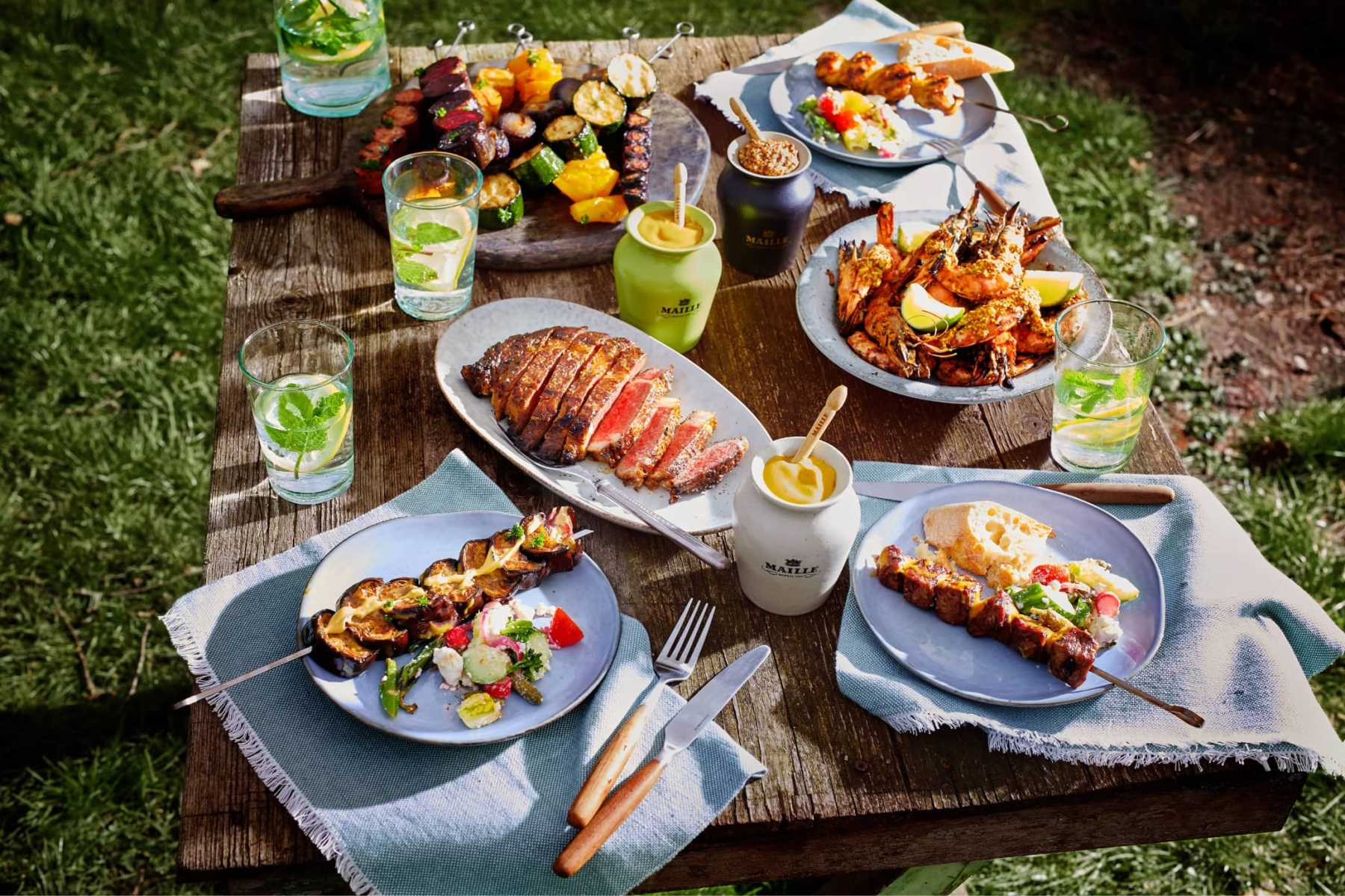 Maille July BBQ dishes with Fresh mustard gourmet